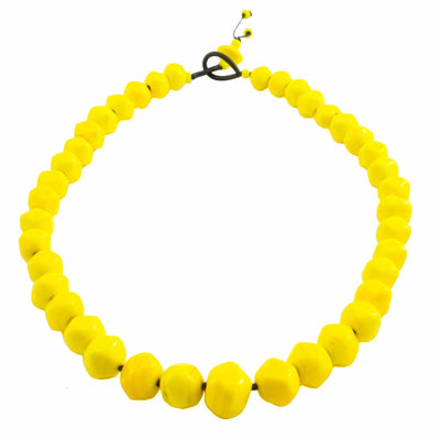 Squarebeat Yellow Necklace by Cosima Montavoci - Co Glass Jewellery