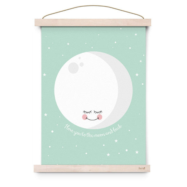 EEF LILLEMOR | POSTER MINT I LOVE YOU TO THE MOON AND BACK - Mini Maj Copenhagen