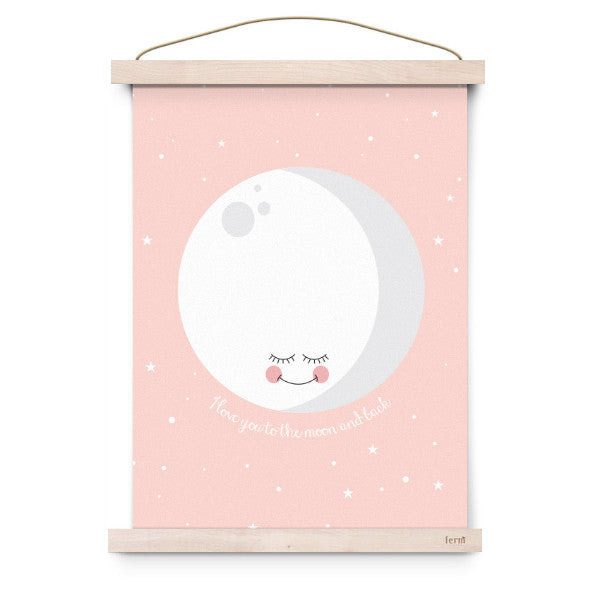 EEF LILLEMOR | POSTER PINK I LOVE YOU TO THE MOON AND BACK - Mini Maj Copenhagen