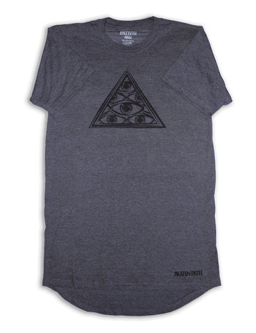 All Seeing Eye Extended Tee - Heather Grey