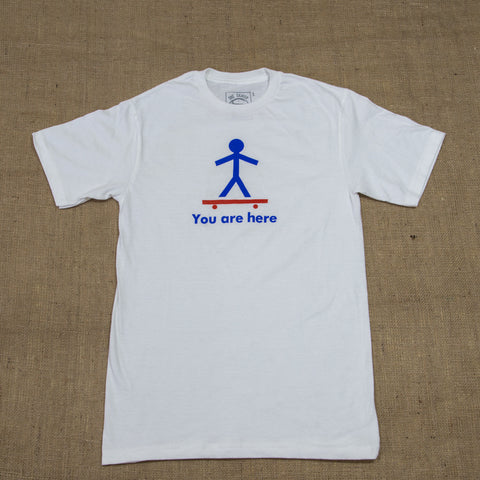 OneSkater You Are Here fitted white T shirt