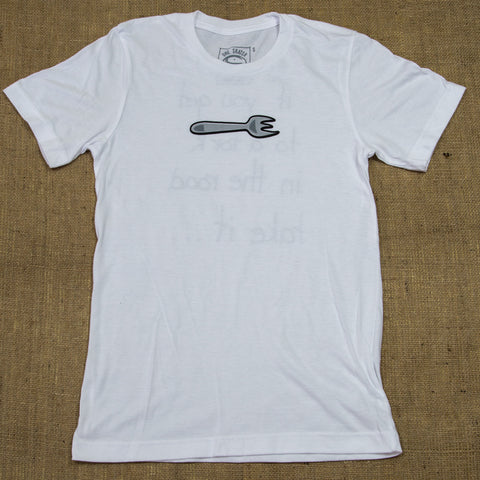 OneSkater Fork in the Road fitted white T shirt
