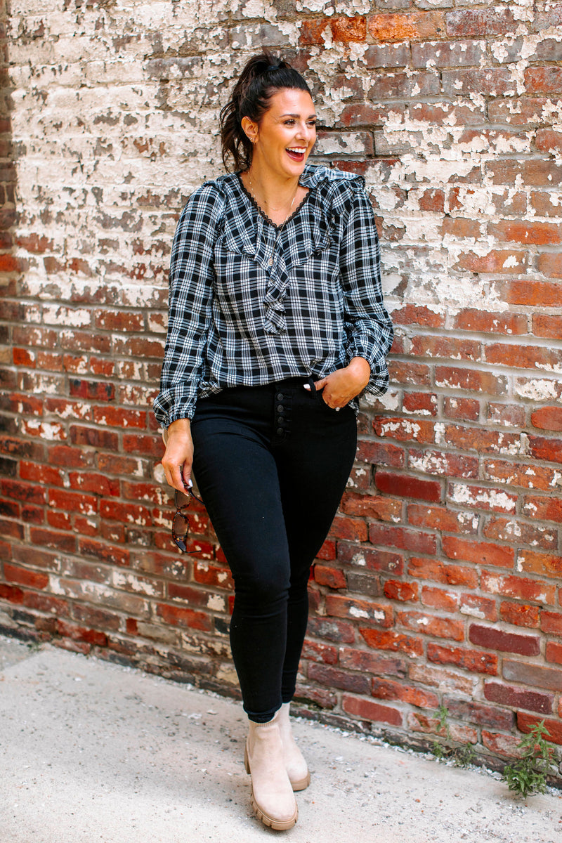three quarter length top that has a banded top and neckline along with long sleeves and cozy feel.lounging set that features a long sleeved, rounded neck top that matches leggings, both with a leopard pattern throughout.