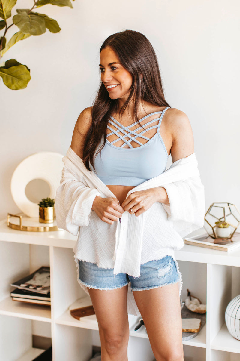 Striped Sweatshirt is a long sleeved, crinkle sweatshirt with a relaxed, cozy fit and round neckline.