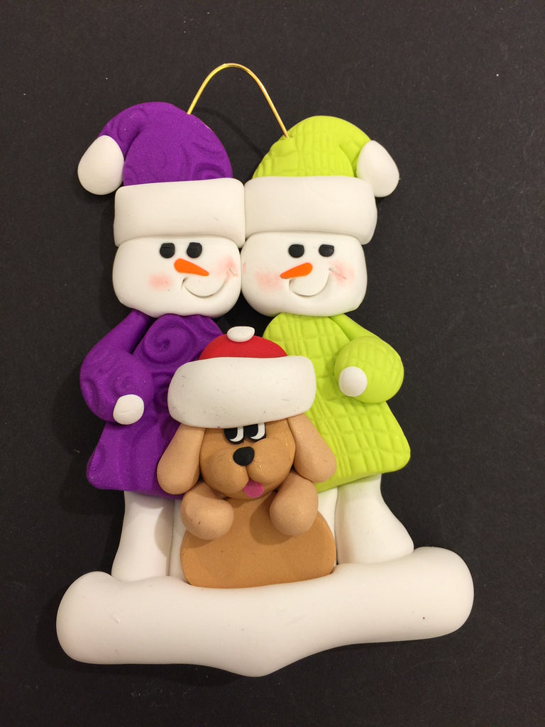 Couple with Beige Dog Ornament
