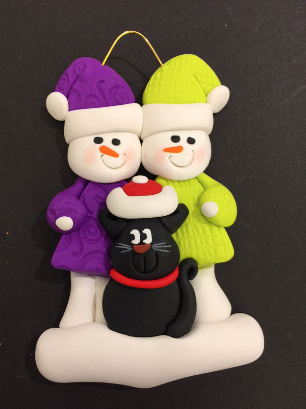 Couple with Black Cat Ornament