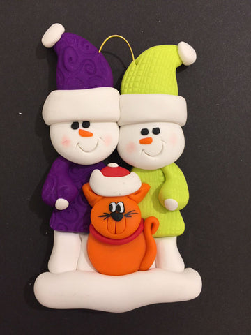 Couple with Orange Cat Ornament