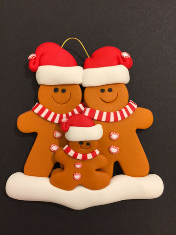 Ginger Bread Family of 3 Ornament