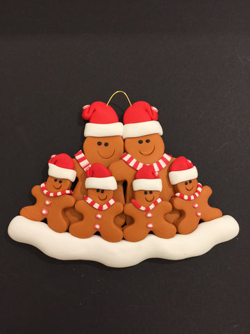 Ginger Bread Family of 6 Ornament