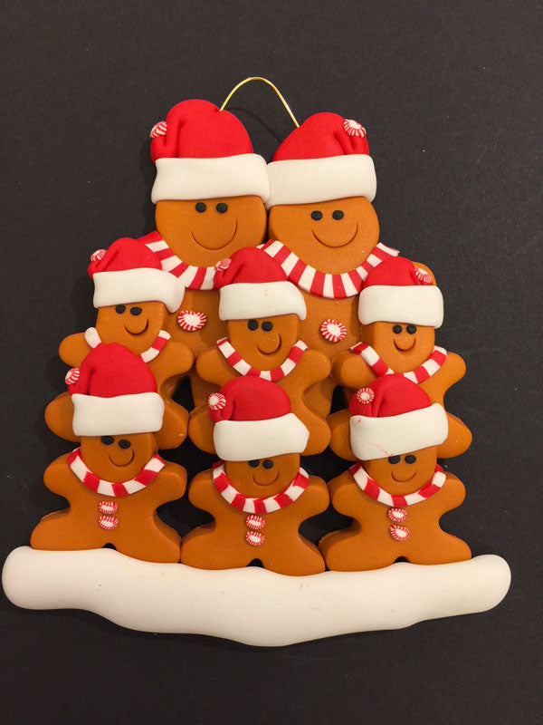 Ginger Bread Family of 8 Ornament