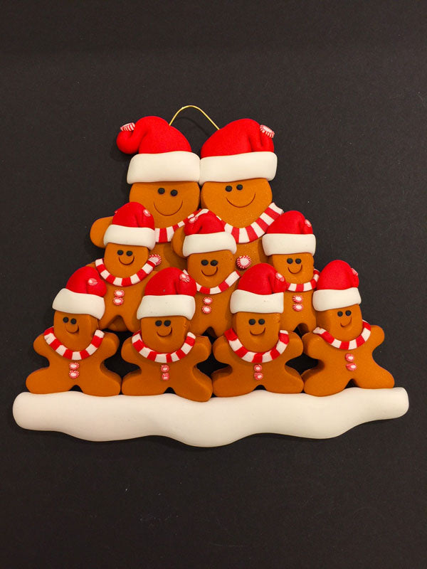 Ginger Bread Family of 9 Ornament