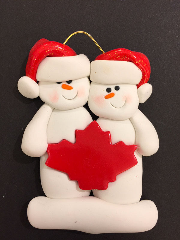 Maple Leaf Snowman Couple Ornament