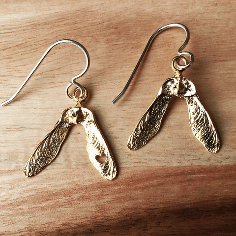 Small Maple Key Earrings - Gold Plated Sterling Silver
