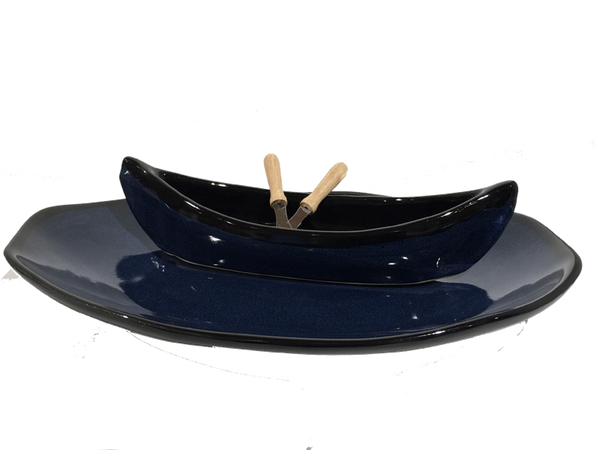 Canoe On A Lake Dip Set - Dark Blue & Black - Pottery - The Cuckoo's Nest - 1