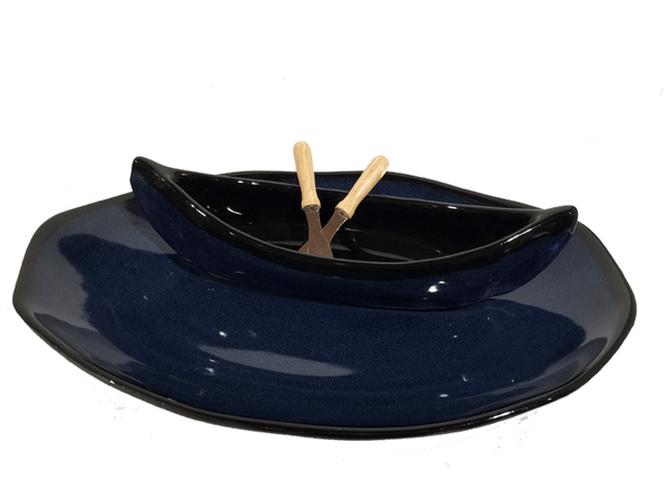 Canoe On A Lake Dip Set - Dark Blue & Black - Pottery - The Cuckoo's Nest - 2