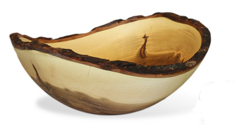 Handcrafted Ambrosia Maple Bowl with Bark - Wood Bowls & Boards - The Cuckoo's Nest