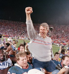 Parcells celebrates victory in Tampa at Super Bowl XXV.