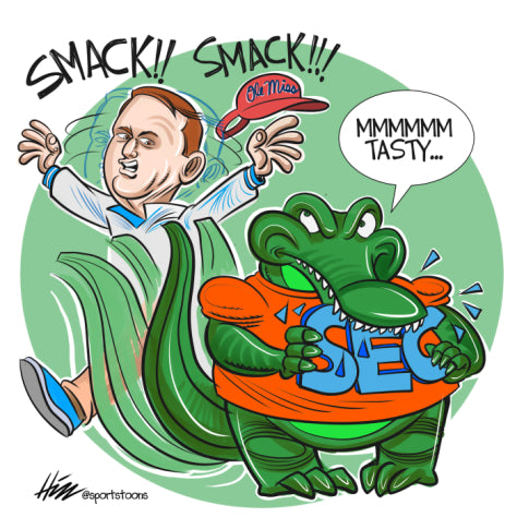 A 38-10 romp in the Swamp against Ole Miss means the Gators are back, baby. At least until Saturday. Lose at Mizzou and it'll be like Muschamp 2.0. Just. Like. That. Illustration: Steve Hill for Smack Zone.