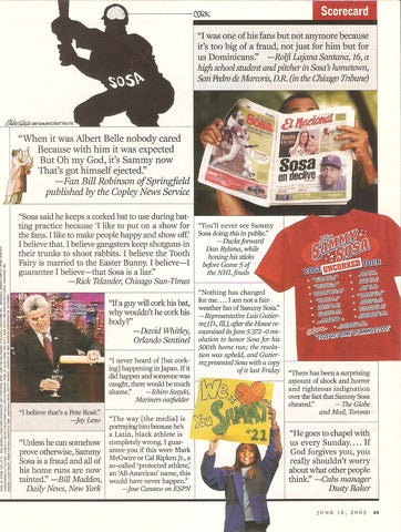 Smack Apparel's Sammy Sosa Uncorked Tour shirt was featured in Sports Illustrated