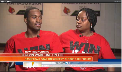 "Kevin Ware wearing the Smack Apparel ""Win it for Kevin"" shirt"