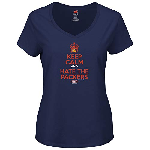 Smack Apparel Chicago Football Fans. Keep Calm and Hate The Packers. Navy Ladies T-Shirt (Xs-2X)