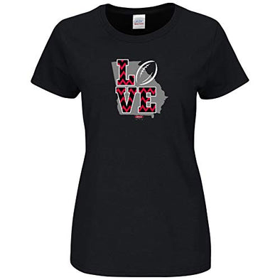 Smack Apparel Georgia Football Fans. Love Black Ladies T-Shirt (Sm-2X)
