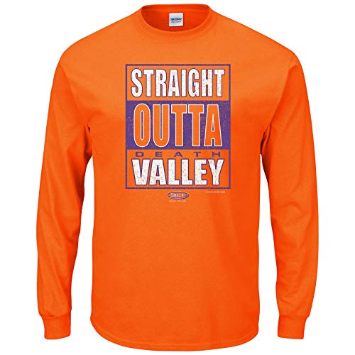 Smack Apparel Clemson Football Fans. Straight Outta Death Valley. Orange Long Sleeve T Shirt (Sm-5X)