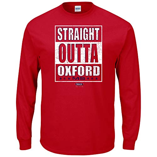 Smack Apparel Ole Miss Football Fans. Straight Outta Oxford Red T Shirt (Sm-5X)