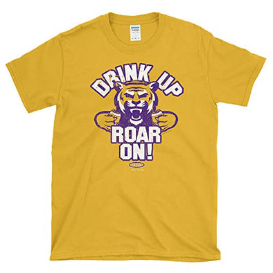 Smack Apparel Louisiana State Football Fans. Drink Up Roar On! Gold Soft Style T-Shirt (Sm-5X)