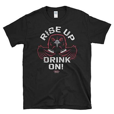 Smack Apparel Atlanta Football Fans. Rise Up Drink On! Black Soft Style T-Shirt (Sm-5X)