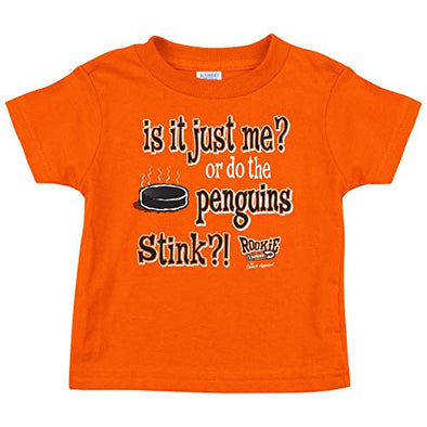 Rookie Wear By Smack Apparel Philadelphia Hockey Fans. is It Just Me? Or do The Penguins Stink?! Orange Onesie (NB-18M) or Toddler Tee (2T-4T)
