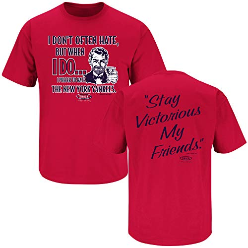 Smack Apparel Minnesota Baseball Fans. Stay Victorious (Anti-Yankees) Red T-Shirt (Sm-5X)