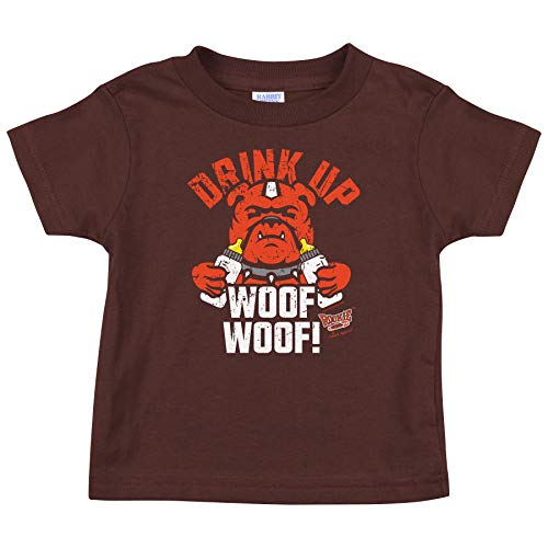 Rookie Wear by Smack Apparel Cleveland Football Fans. Drink Up Woof Woof! Brown Onesie (NB-18M) or Toddler Tee (2T-4T)