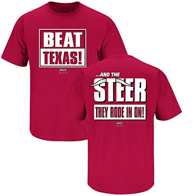 Smack Apparel Oklahoma Football Fans. Beat Texas and The Steer They Rode in on Cardinal T Shirt (Sm-5X)