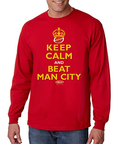 Manchester United Fans. Keep Calm and Beat Man City Red Long Sleeve T Shirt (Sm-5X)