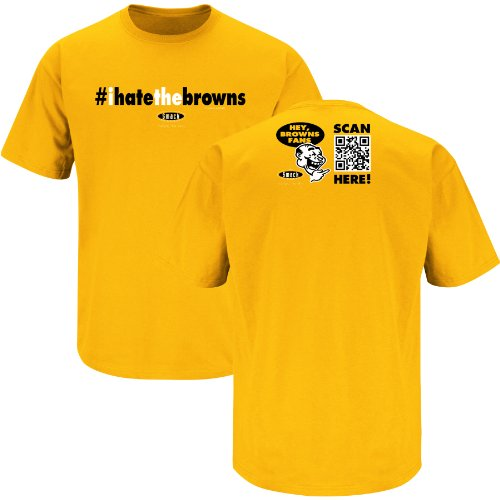 Pittsburgh Steelers Fans. #ihatethebrowns Gold T-Shirt (S-3X)