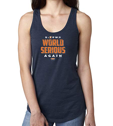 Smack Apparel Houston Baseball Fans. World Serious Again. Navy Ladies Shirt (Sm-2X)