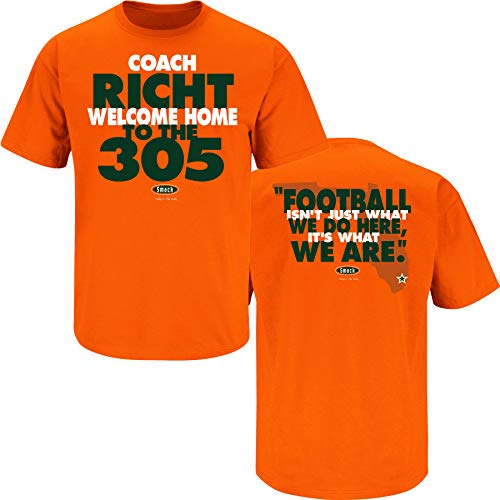 Miami Hurricanes Fans. Welcome Home Coach. Orange T Shirt (Sm-5X) (XX-Large)