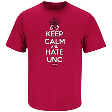 Smack Apparel North Carolina State Fans. Keep Calm and Hate UNC Red T-Shirt (Sm-5X)