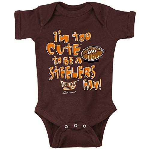 Unlicensed Cleveland Pro Football Baby Bodysuits or Toddler Tees | Too Cute to be a Steelers Fan (Anti-Pittsburgh)