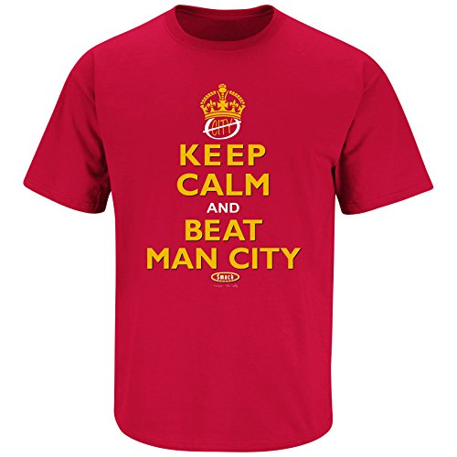 Manchester United Fan Apparel | Keep Calm and Beat Man City Shirt | Buy Gear for Man U Fans