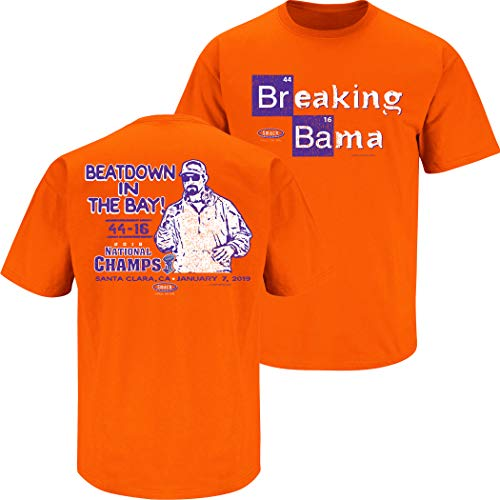 Smack Apparel Clemson Football Fans. Breaking Bama 2018 Orange T-Shirt (Sm-5X)