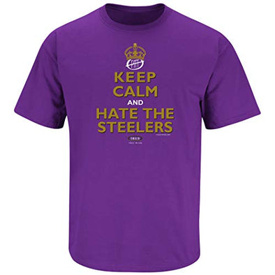 Smack Apparel Baltimore Football Fans. Keep Calm and Hate The Steelers Purple T-Shirt (S-5X)