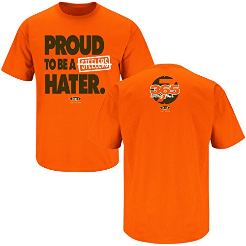 Smack Apparel Cleveland Football Fans. Proud to Be a Steelers Hater Orange T-Shirt (S-5X)