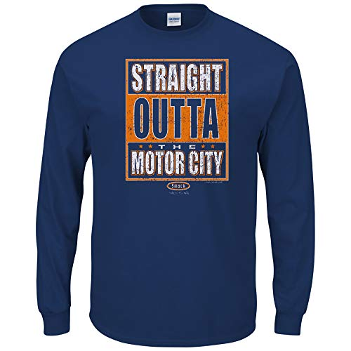 Smack Apparel Detroit Baseball Fans. Straight Outta The Motorcity. Navy T-Shirt (Sm-5X)