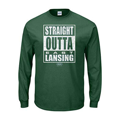 Smack Apparel Michigan State Football Fans. Straight Outta East Lansing. Forest Green T-Shirt (Sm-5X)