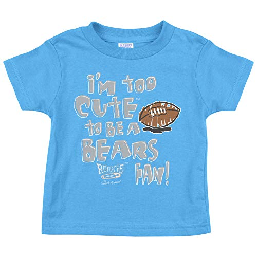 Rookie Wear by Smack Apparel Detroit Football Fans. I'm Too Cute Blue Onesie (NB-18M) or Toddler Tee (2T-4T)
