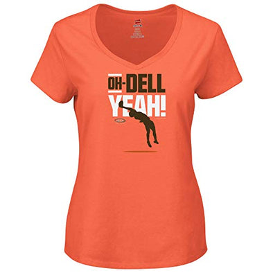 Smack Apparel Cleveland Football Fans. Oh-Dell Yeah Orange Ladies Shirt (Sm-2x)