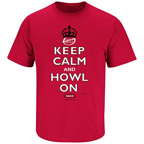 Smack Apparel North Carolina State Football Fans. Keep Calm and Howl On Red T-shirt (SM-5X)