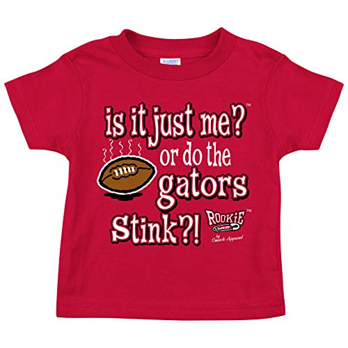 Rookie Wear by Smack Apparel Georgia Football Fans. is it Just Me or do The Gators Stink!? Red Onesie (NB-18M) or Toddler Tee (2T-3T)